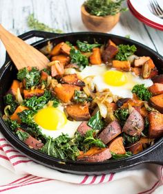 One-Skillet Sweet Potato and Kale Hash
