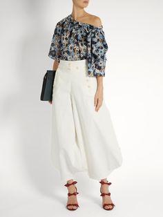 Bell-sleeved floral-print top