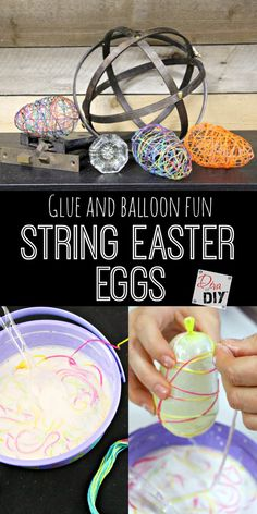 Fun Easter craft using 3 supplies, string, balloons and glue! Seriously that's all it takes to make these string Easter eggs. Great craft for tweens!