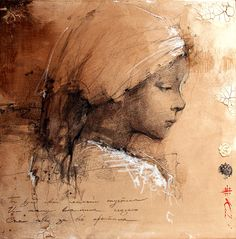 paperimages: very nice illustration.the artist has captured a nice moment and feeling Andre Kohn Art Sketches, Art Drawings, Portrait Au Crayon, Wow Art, Face Art, Figurative Art, Painting & Drawing, Portraits, Illustration Art