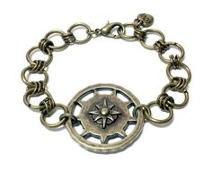 Antique Brass Compass Bracelet by MidnightHouseElves on Etsy