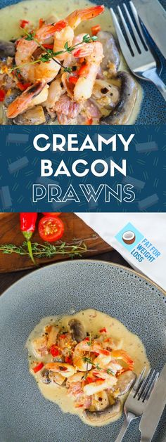 Creamy Bacon Prawns – Easy Keto Dinner via @fatforweightlos
