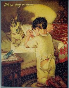 """When Day Is Done"" Illustration by Frances Tipton Hunter ❤ Please… Images Vintage, Vintage Pictures, Vintage Cards, Retro, Boy Fishing, Kids Story Books, Norman Rockwell, American Artists, Vintage Children"
