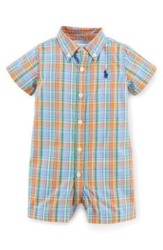 Ralph Lauren Plaid Romper (Baby Boys) available at #Nordstrom