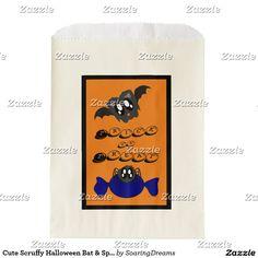 Cute Scruffy Halloween Bat & Spider Favor Bag