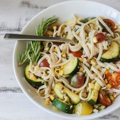 Linguine with Summer Vegetables HealthyAperture.com