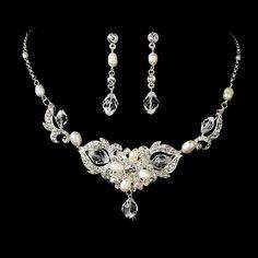 Silver Crystal & Pearl Bridal Jewelry Set NE 7804