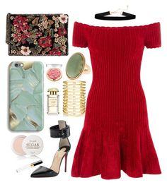 """Red Dress"" by jelisaj ❤ liked on Polyvore featuring Jules Smith, Christian Louboutin, Michelle Mason, MANGO, Harper & Blake, Fresh, AERIN, Chanel, NightOut and dress"