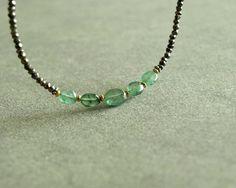 Genuine Emerald Necklace green Columbian by bluegreenjewels, $150.00
