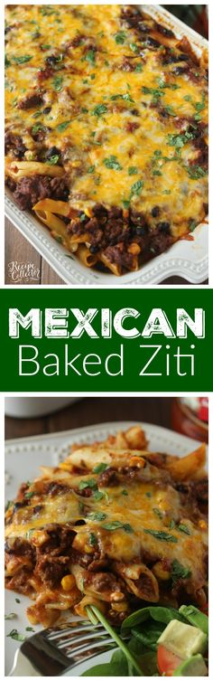 Mexican Baked Ziti - A comforting casserole filled with pasta, ground beef, cheese, Ragu sauce, black beans, and corn.: