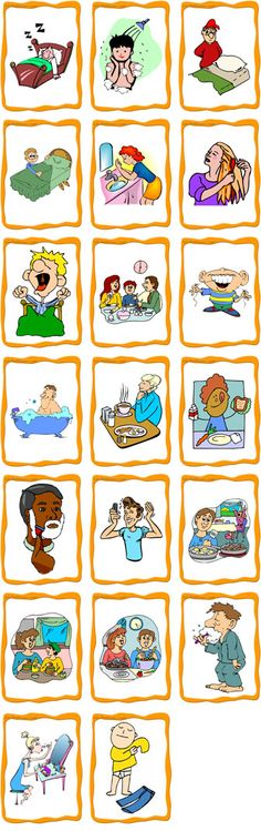 FlashCards Preview - Daily Activities Flashcards (Set B) sleep, take a shower, go to bed, wash face, brush hair, wake up, eat dinner, floss, take a bath, eat breakfast, eat lunch, shave, comb hair, make dinner, make lunch, make breakfast, brush teeth, put on makeup, get dressed