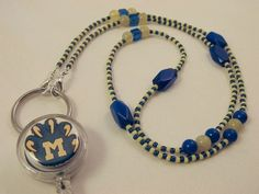 Michigan Beaded ID Badge Lanyard Yellow & by TheLanyardNecklace, $27.00