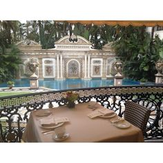 Versace Mansion Living It Up In South Beach ❤ liked on Polyvore featuring pool
