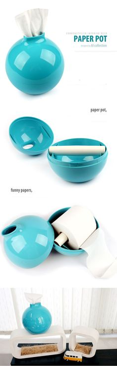 Paper Pot   Funny & Stylish Interior Deco   For $11.00 in different colours available.   I Love it! Looks so cool, not at all like toilet paper ;)   Designed by Al Collection
