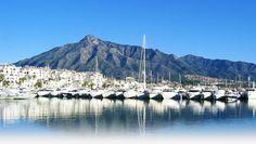 Marbella Spain, from Puerto Banus, looking to La Concha mountain. Marbella