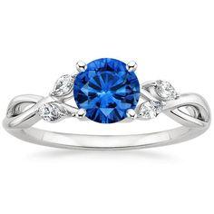 18K White Gold Sapphire Willow Diamond Ring, top view