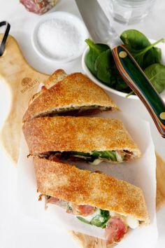 Salami and Spinach Stromboli