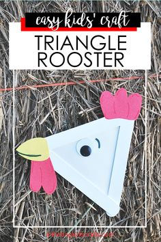 """Make this fun and easy triangle rooster kids' craft using just a few basic items from """"in the bag"""". Diy Crafts For Kids Easy, Animal Crafts For Kids, Craft Projects For Kids, Paper Crafts For Kids, Craft Activities For Kids, Toddler Crafts, Preschool Crafts, Popsicle Stick Crafts For Kids, Craft Stick Crafts"""