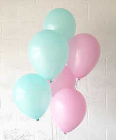 Pink and Mint Latex Balloons Pink Balloons Mint by OhhHowCharming
