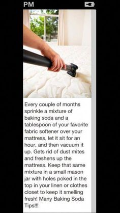 5 Ways to Healthy Living at Home Clean your mattress and get rid of dust mites Household Cleaning Tips, House Cleaning Tips, Deep Cleaning, Spring Cleaning, Cleaning Hacks, Diy Hacks, Cleaning Checklist, Household Cleaners, Cleaning Recipes