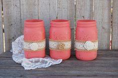Rustic coral mason jars