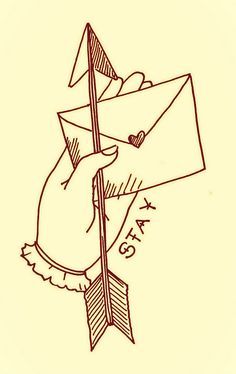 stay, illustration, drawing, sketch, hand, tattoo style, love letter, arrow