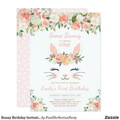 Shop Bunny Birthday Invitation Some Bunny Birthday created by PixelPerfectionParty. Twin First Birthday, Bunny Birthday, First Birthday Parties, Birthday Party Themes, Birthday Ideas, 4th Birthday, Twins 1st Birthdays, Bunny Party, First Birthday Invitations