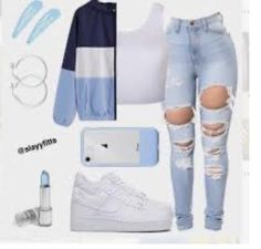 Outfits Teenager Mädchen, Swag Outfits For Girls, Cute Outfits For School, Teenage Girl Outfits, Teen Fashion Outfits, Jeans Fashion, Blue Outfits, Fashion Fashion, Fashion Ideas