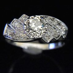 Old European Cut Diamond 14k White Gold Ring by sohojewelers
