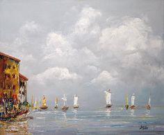 Painting Harbour wiev - Artist Marek Langowski