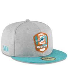 Miami Dolphins On Field Sideline Road 59FIFTY FITTED Cap 6663566cd