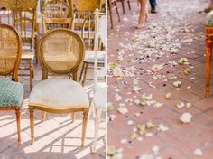 vintage chairs, rose petal confetti down the aisle