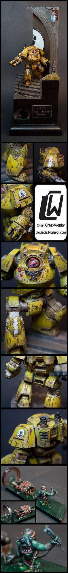 nicely weathered Imperial Fists contemptor dreadnought