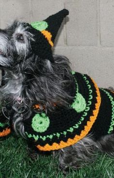 Miss Julia's Vintage Knit & Crochet Patterns: Free Patterns - 30 Going to the Dogs in Knit, Crochet & Crafts  Witch costume