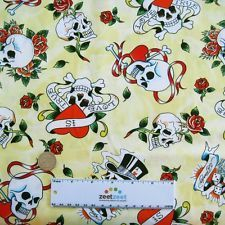 ed hardy fabric in Fabric Crafts Ed Hardy Tattoos, Tossed, Fabric Crafts, Skulls, Cotton Fabric, Hearts, Snoopy, Yard, Yellow