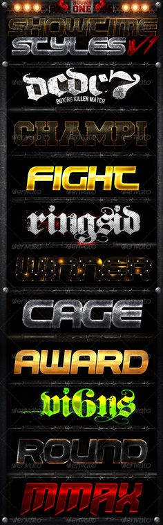 Showtime Styles V1 Photoshop Text Effects, Best Photoshop Actions, Mma, Shops, Font Combinations, Font Names, Layer Style, Text Style, Game Logo
