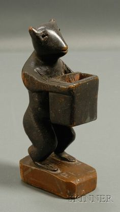 Folk Carved Bear Match Holder, America, late century, carved from a single piece of wood, standing figure with inset glass bead eyes Wooden Walking Sticks, Rabbit Art, Country Art, Art Object, Woodland Animals, Traditional Art, Wood Art, Folk, Single Piece