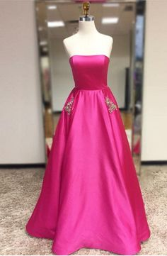 Fuchsia Strapless Long Prom Dress with Pockets