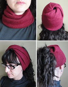 Free Knitting Pattern for Strange Loop - This recipe for a versatlie twisted loop can be worn many different ways. It can be worn as a cowl or pushed up on the head as a headband. Arrange the twists at one end, this can be worn as a hat or as a wide headband with a hole to create a messy bun or ponytail hat. Designed by Morgen Dämmerung. Available in English and Russian.Pictured projectby loopysue