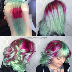 """""""All the looks from yesterday's periscope fun! Emerald Green Hair, Green Hair Colors, Cool Hair Color, Hair Colour, Braid In Hair Extensions, Christmas Hair, Hair Creations, Coloured Hair, Wild Hair"""