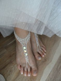 Wedding anklet, silver ''''BAREFOOT BOHEMIAN WEDDING''' barefoot sandals, slave Anklets, crochet Sandals, sole less shoes crochet anklets