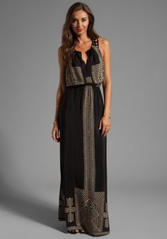 Twelfth Street By Cynthia Vincent Black Pyramids Leather Racerback Maxi Dress in Black