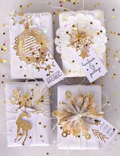 White and gold Christmas gift wrapping ideas Creative Gift Wrapping, Present Wrapping, Wrapping Ideas, Creative Gifts, Christmas Gift Wrapping, Diy Christmas Gifts, Holiday Gifts, Christmas Decorations, Noel Gifts