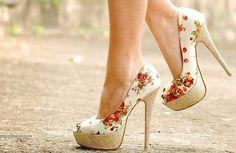 pretty floral heels