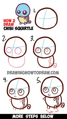 Learn How to Draw Cute Baby Chibi Squirtle from Pokemon Simple Steps Drawing Lesson