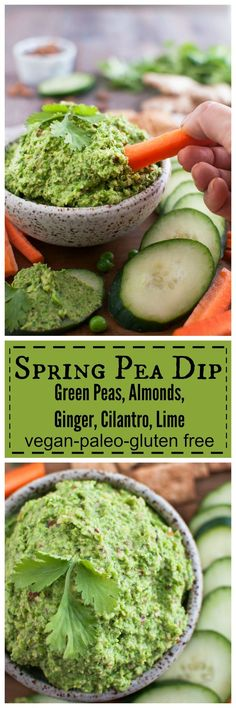 Spring Pea Dip with Amonds, Ginger, Cilantro, and Lime only 5 minutes to make!