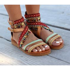 Handmade Leather Sandals Greek Leather Sandals Boho Sandals Holi' ($264) ❤ liked on Polyvore featuring shoes, sandals, gladiator & strappy sandals, grey, women's shoes, grey gladiator sandals, leather strap sandals, bohemian sandals, gladiator sandal and strap sandals