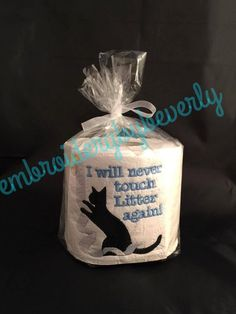 Black cat embroidered toilet paper, I will never touch litter again! Gag gift…