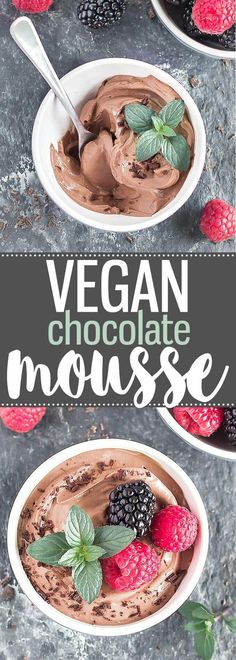 3-Ingredient Silken Tofu Chocolate Mousse - A super easy dessert or snack, ready in 5 minutes, and you can't taste the tofu! gluten-free, dairy-free, eggless, and vegan via /easyasapplepie/