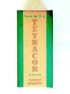 Envase del medicamento en gotas Tetracor. Producido por Chinoin, en Budapest, Hungría. Colección Cuba Material.